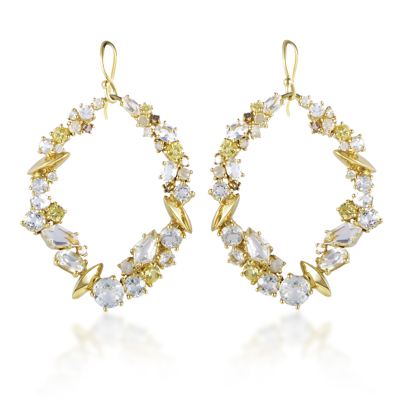 18K Yellow Gold Diamond & Gemstone Dangle Earrings FN33E075