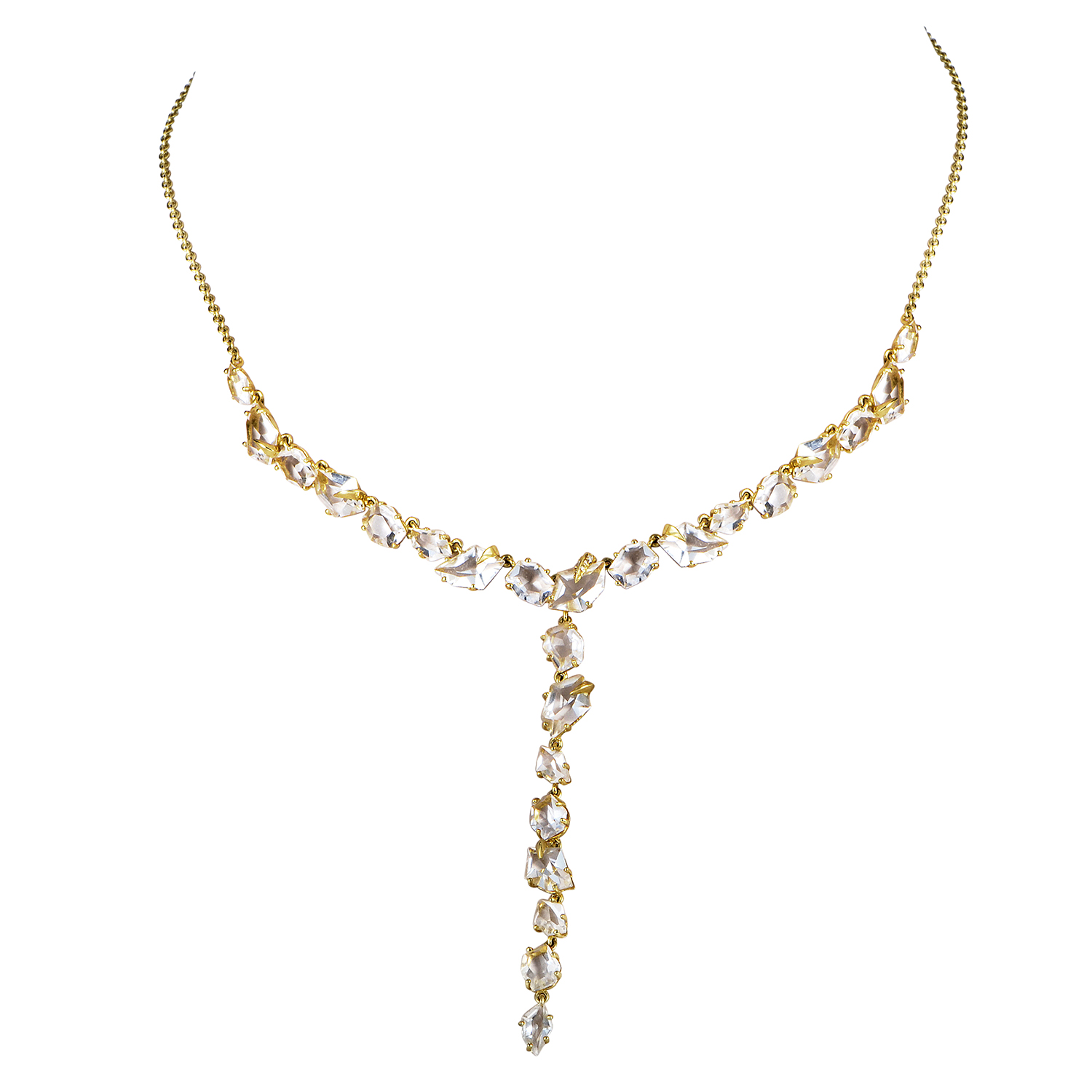 18K Yellow Gold Quartz & Diamond Necklace FN33N028
