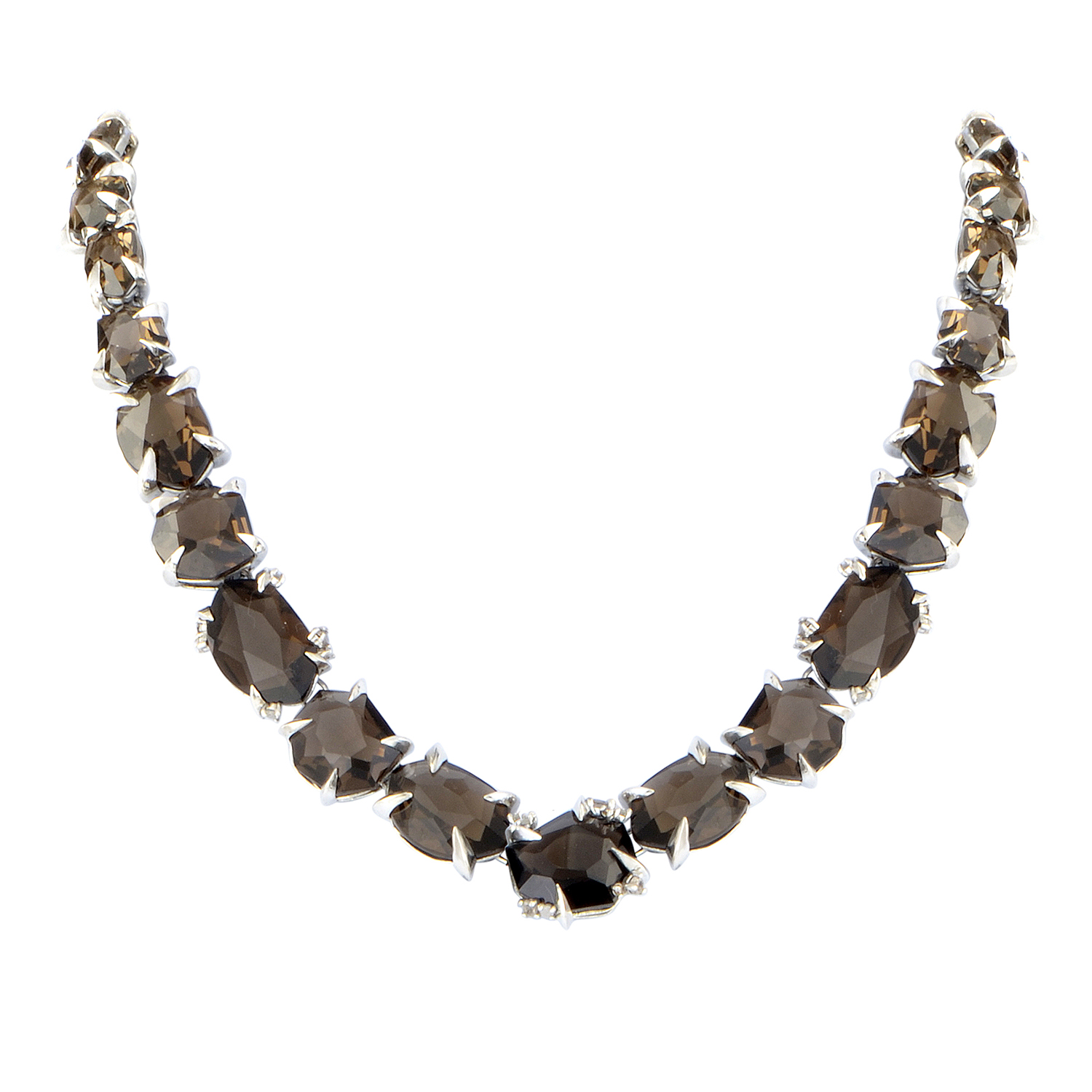 Women's Sterling Silver Diamond & Smoky Quartz Necklace FN33N036