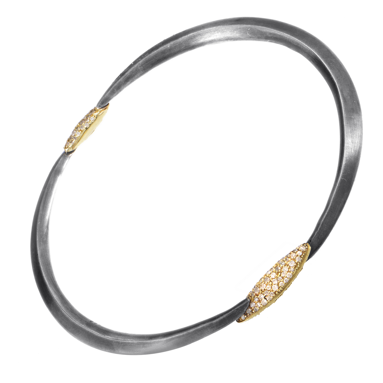 Women's Gold-Tone Sterling Silver & Gray Diamond Bangle FN41B030