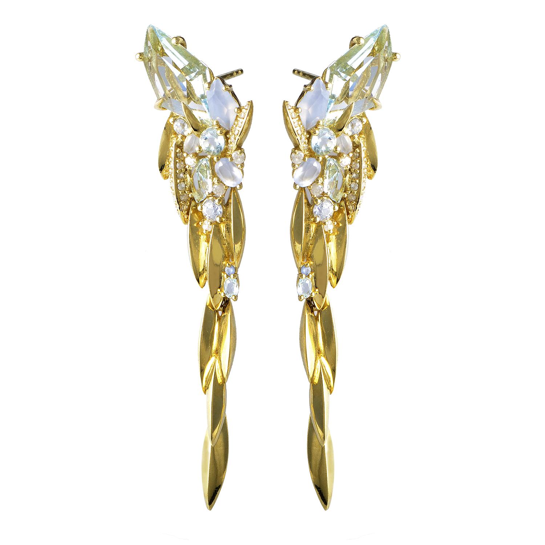Marquis 18K Yellow Gold Diamond & Gemstone Earrings FN41E023