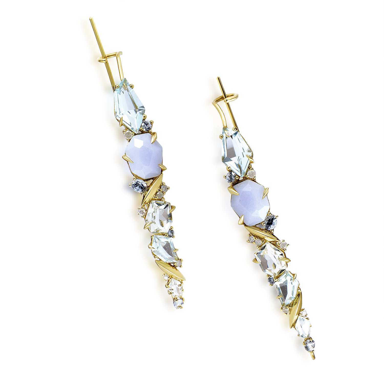 18K Yellow Gold Diamond & Multi-Gemstone Earrings FN41E084