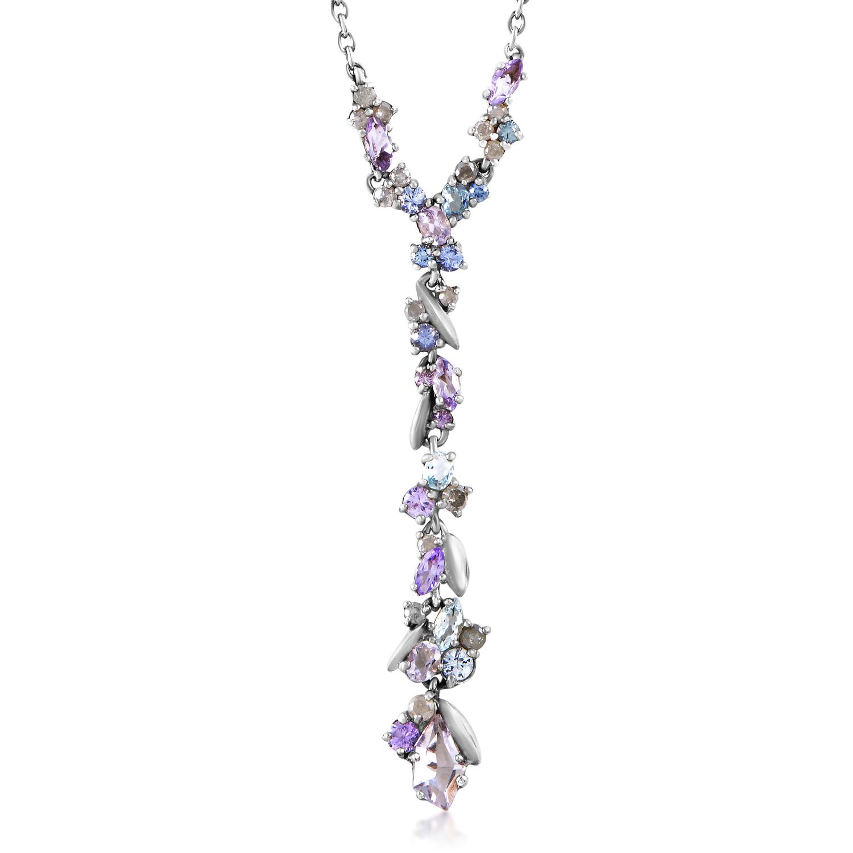 Women's Sterling Silver Multi-Gemstone Necklace FN41N012