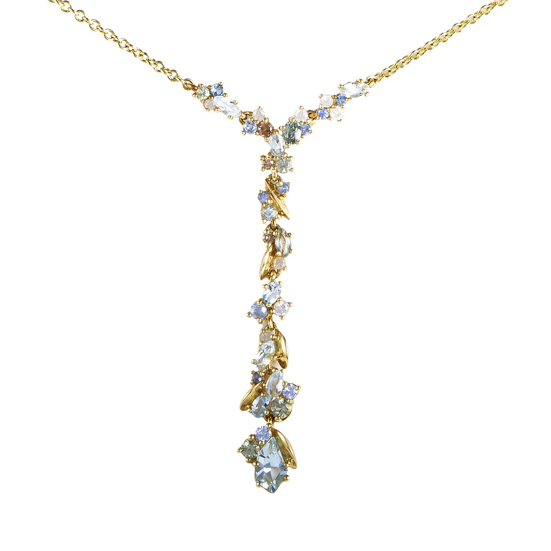 18K Yellow Gold Diamond & Multi-Gem Pendant Necklace FN41N013
