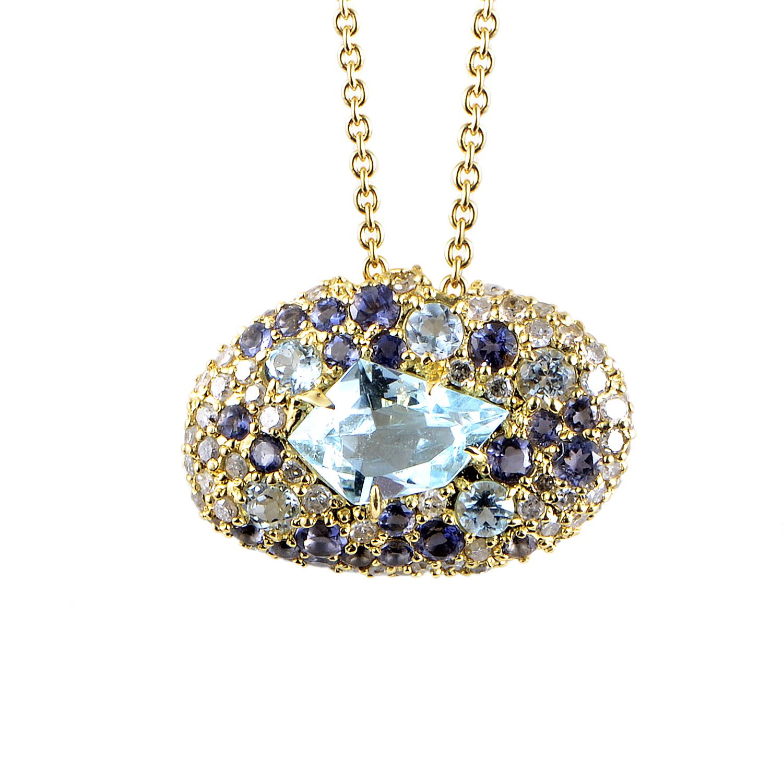18K Yellow Gold Diamond Topaz Pendant Necklace FN41N035