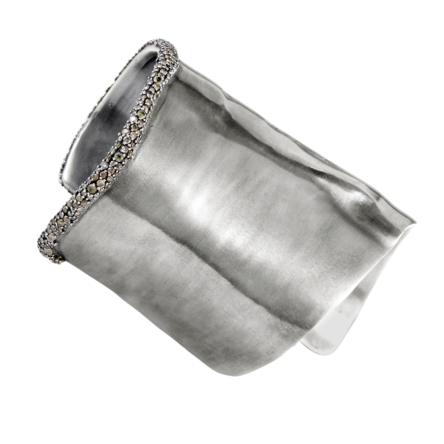 Marquis Women's Sterling Silver Brown Diamond Tapered Cuff Bangle