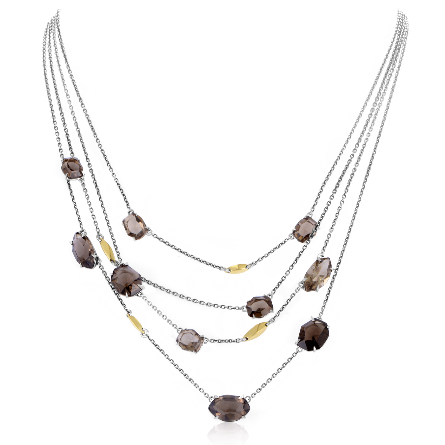 Women's Sterling Silver & Smoky Quartz Necklace FN43N032