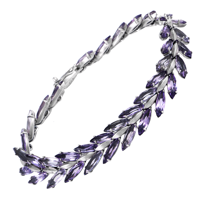 Marquis Sterling Silver Marquise-Cut Amethyst Bracelet FN44B007