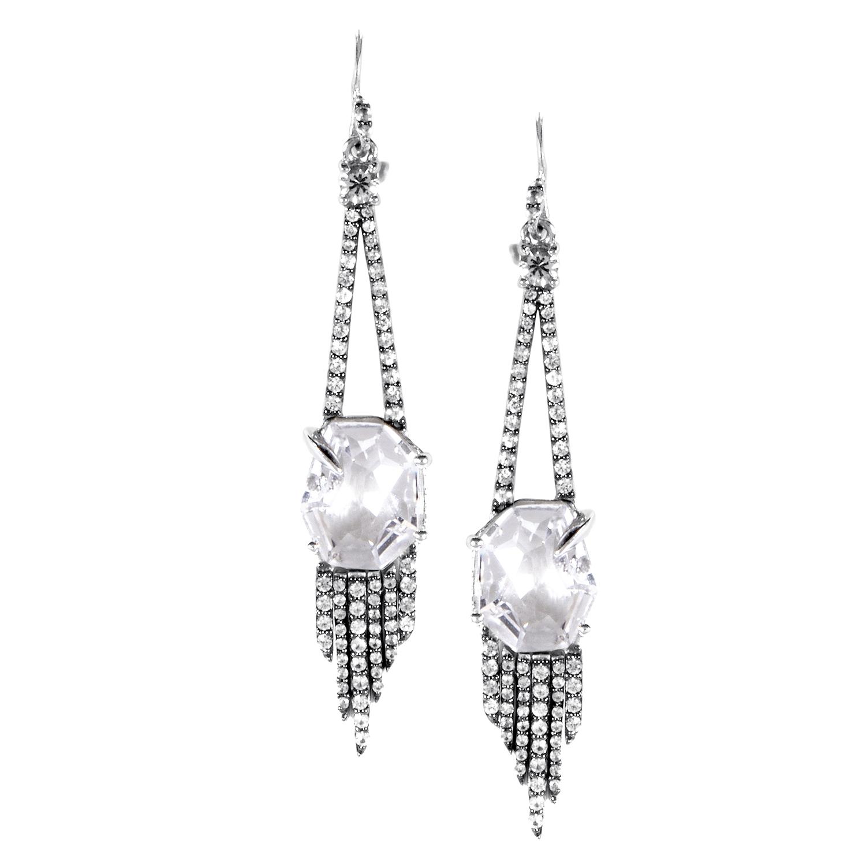Women's Sterling Silver White Sapphire & Clear Quartz Drop Earrings