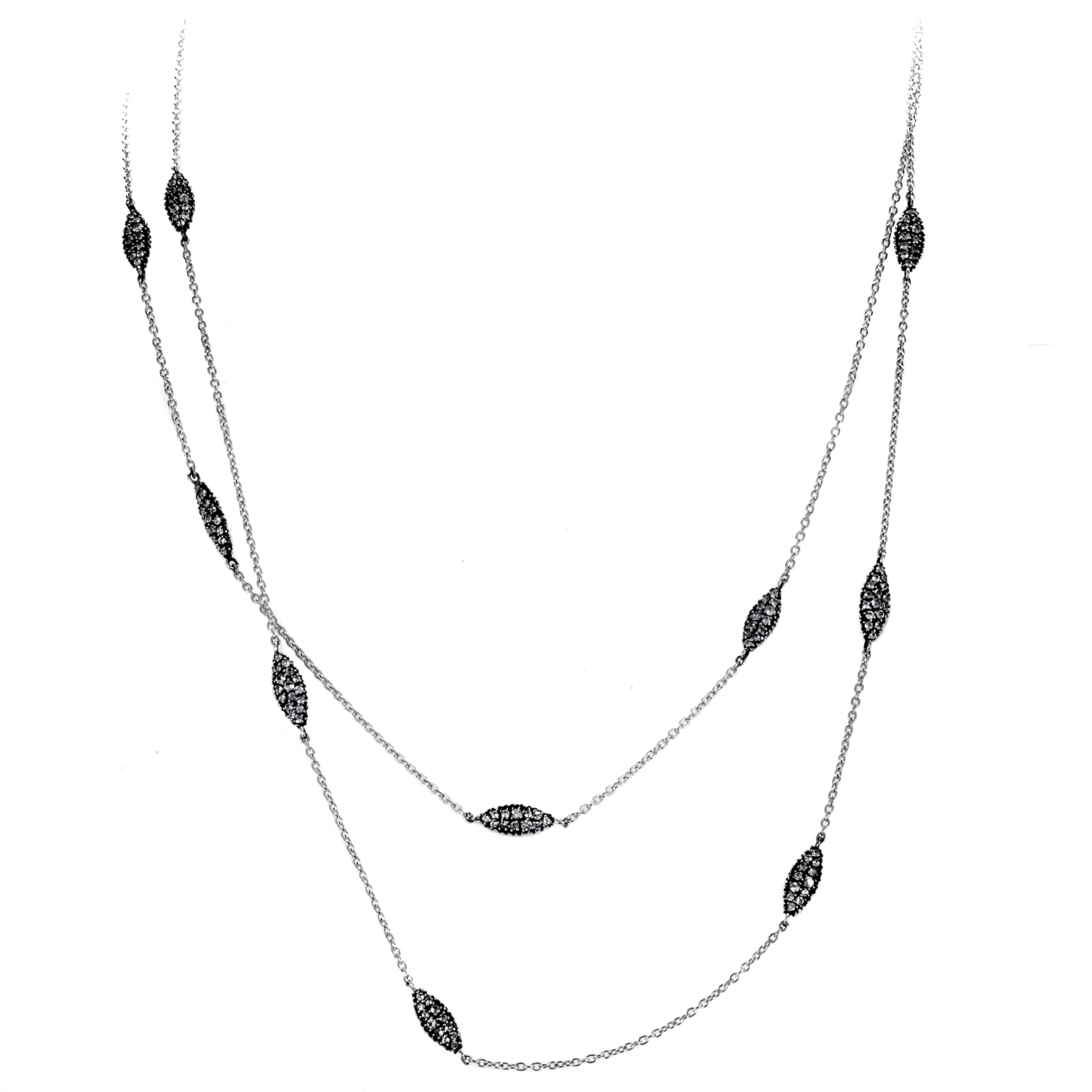 Women's Long Sterling Silver & White Sapphire Necklace FN51N008