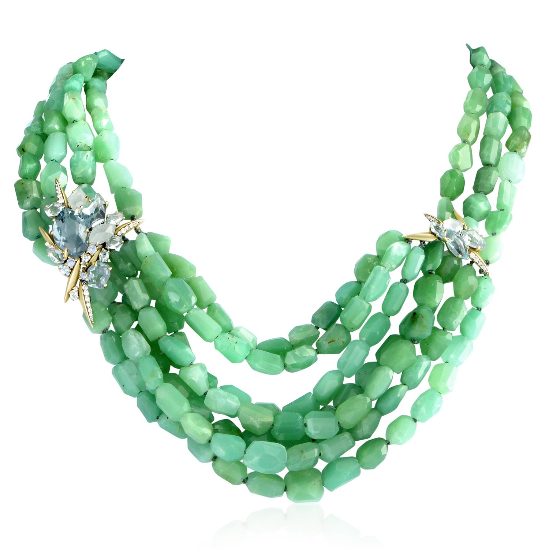 Women's Sterling Silver Multiple Gemstone Beaded Necklace FN51N020