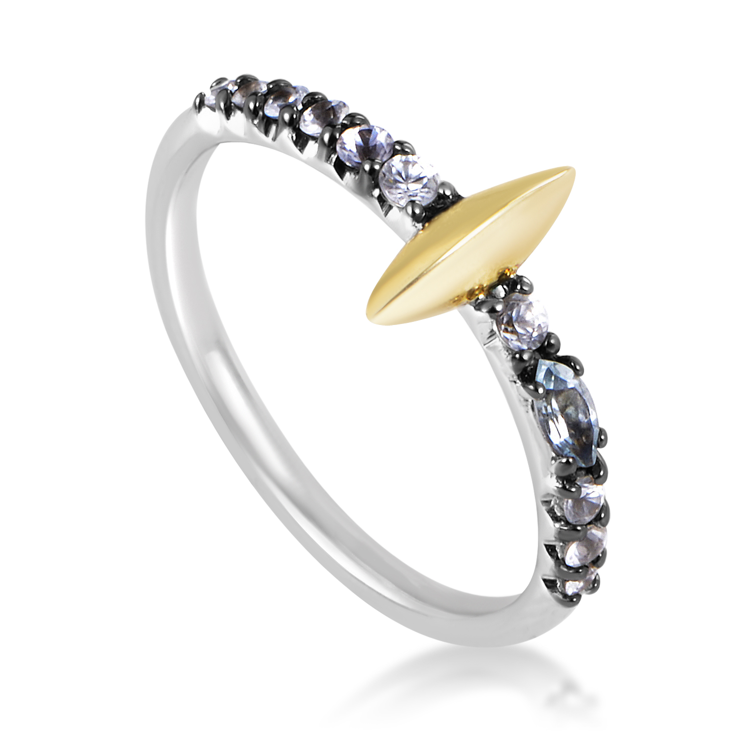 Marquis Women's Gold-Tone Sterling Silver Sapphire & Topaz Ring