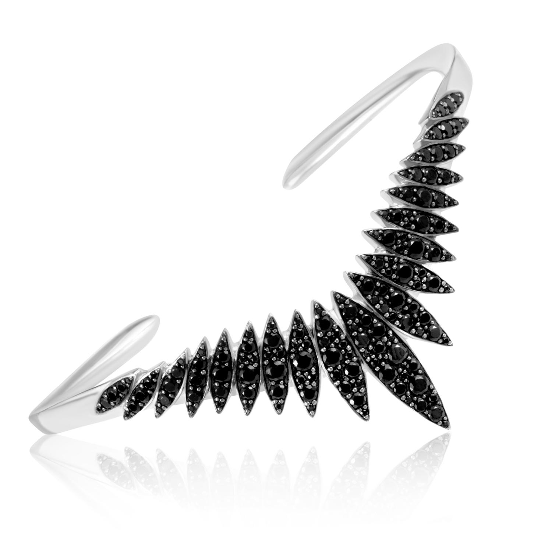 Marquis Sterling Silver & Black Spinel Pave Burst Cuff Bracelet