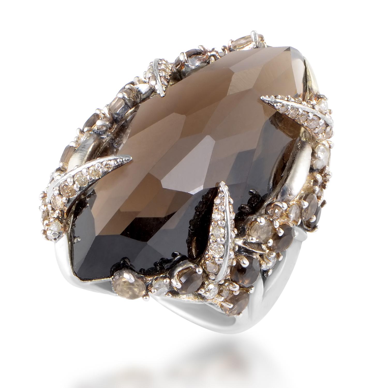Women's Sterling Silver Smoky Quartz & Brown Diamond Ring