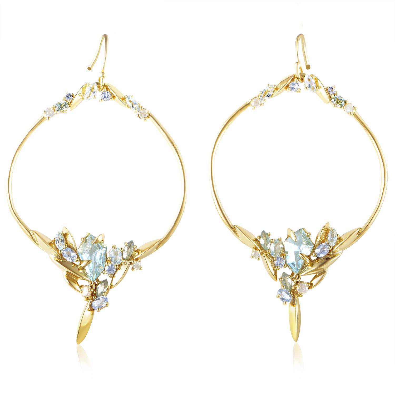 Marquis 18K Yellow Gold Diamond & Multi-Gem Earrings FN41E016