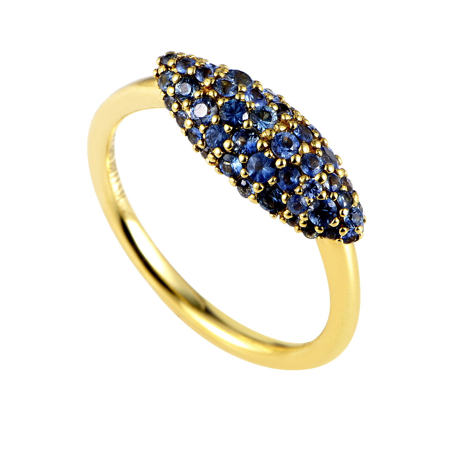 Marquis 18K Yellow Gold Sapphire Pave Ring FN41R0048