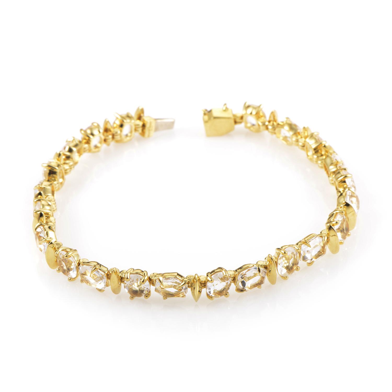 18K Yellow Gold Clear Quartz Bracelet FN33B019