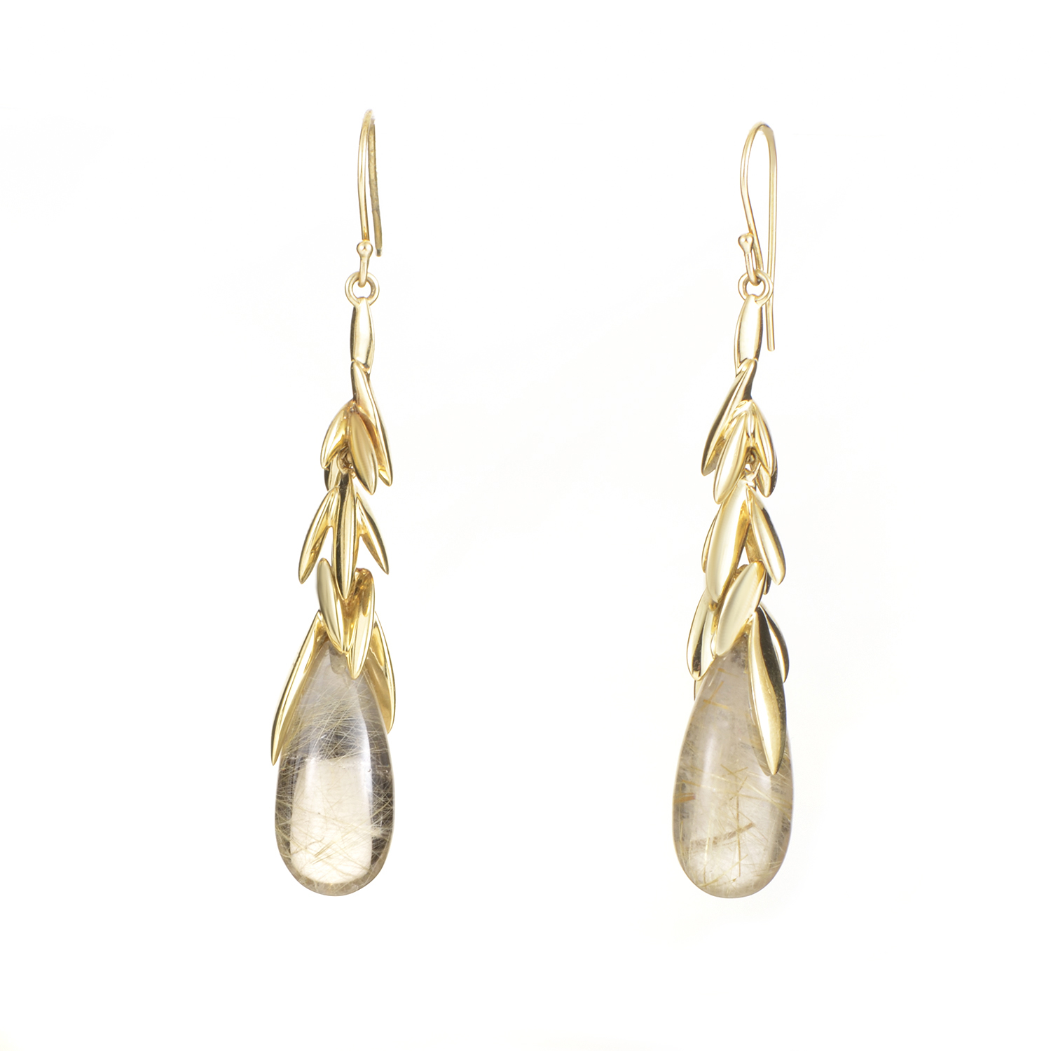 18K Yellow Gold Rutilated Quartz Drop Earrings FN41E020