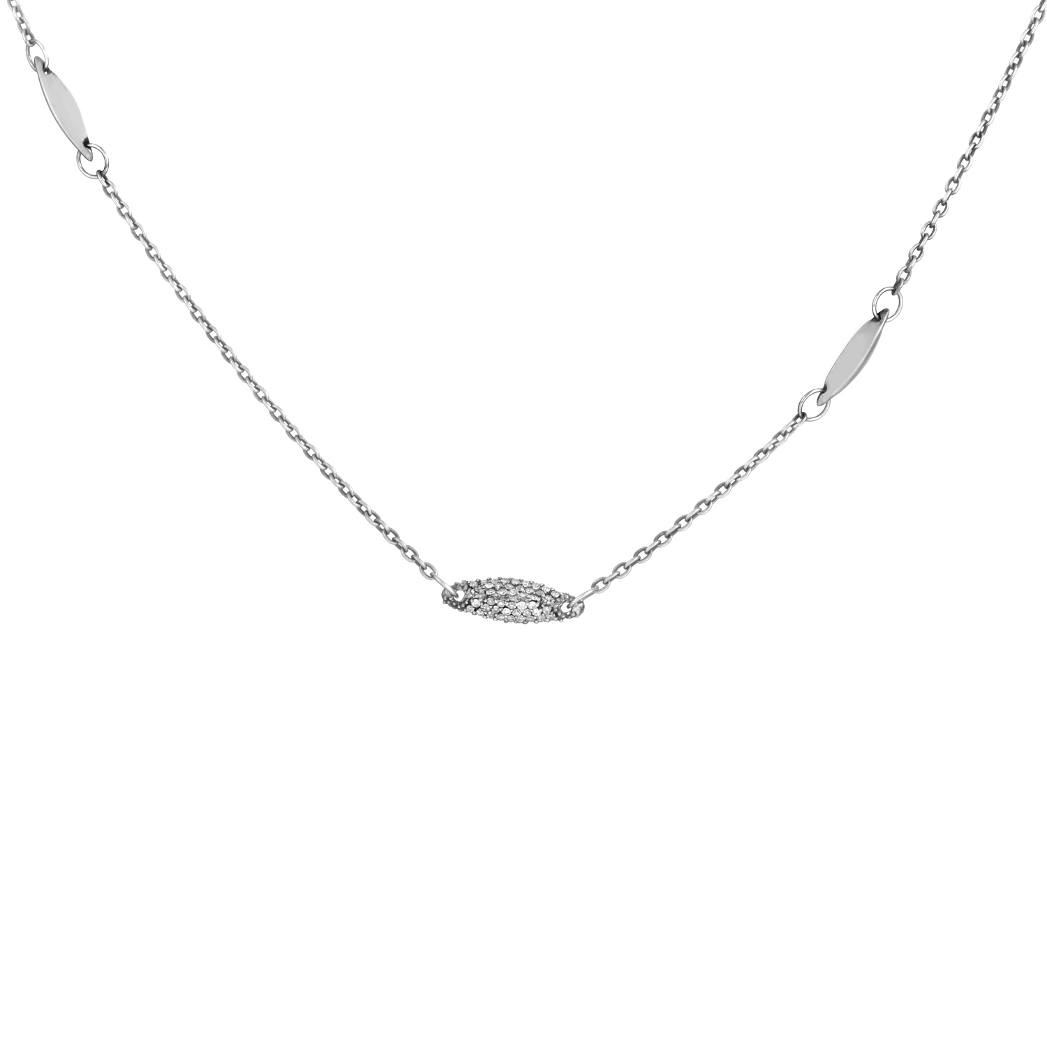 Marquis Women's Sterling Silver Grey Diamond Necklace FN41N037