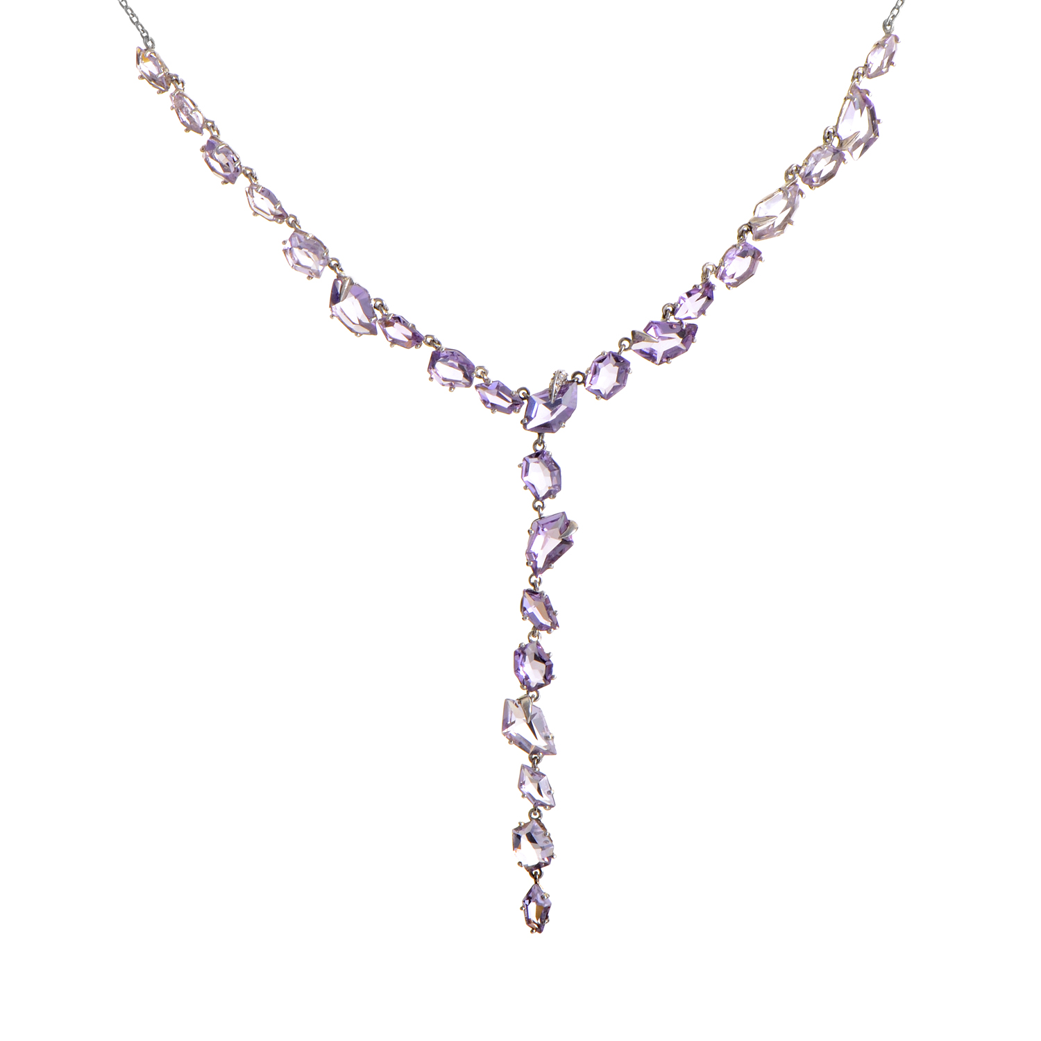 Women's Sterling Silver Diamond & Amethyst Lariat Style Necklace FN41N046