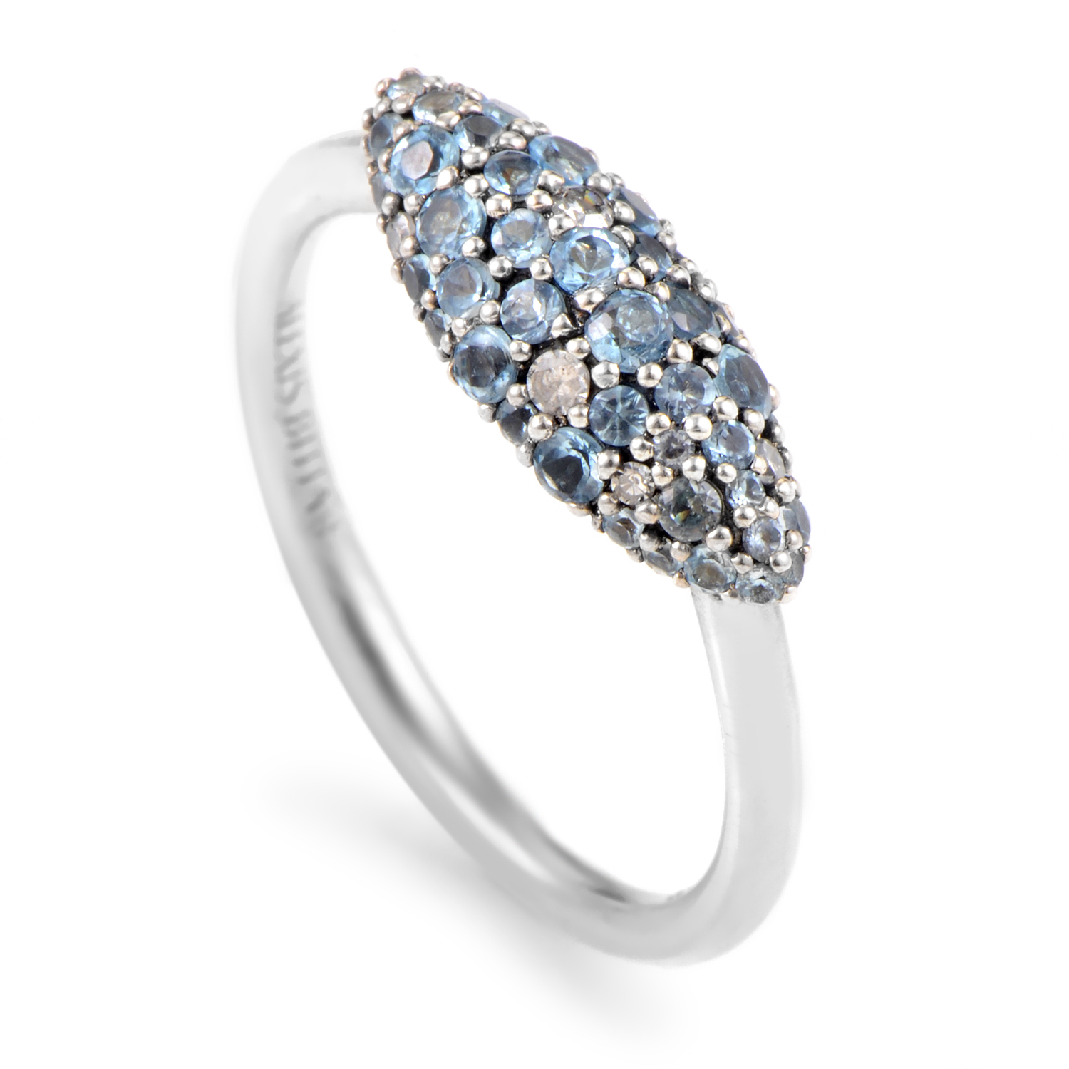 Women's Silver Gold Grey Diamond & Blue Zircon Ring FN41R0038