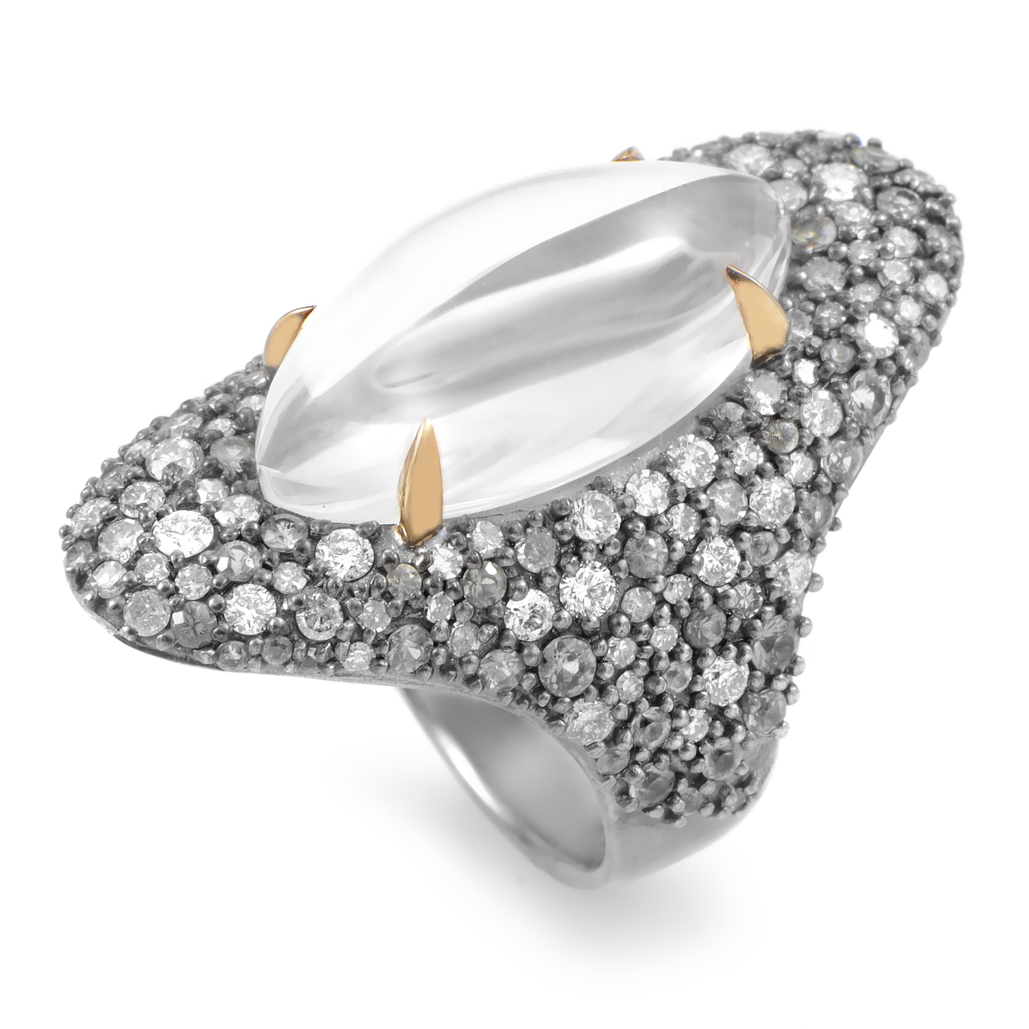 Women's Sterling Silver Diamond & Gray Gemstone Cocktail Ring