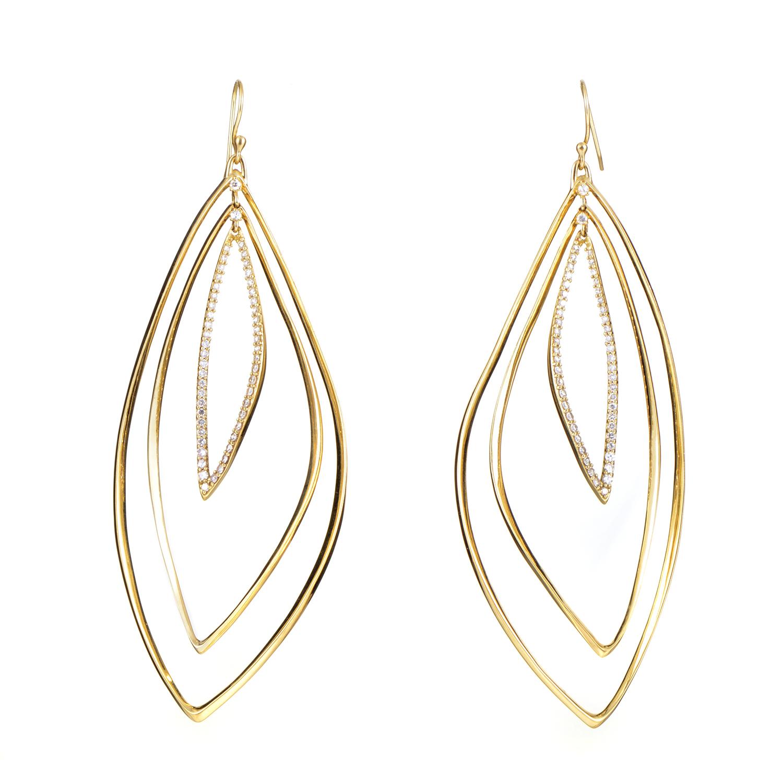 18K Yellow Gold Diamond Dangle Earrings FN43E010