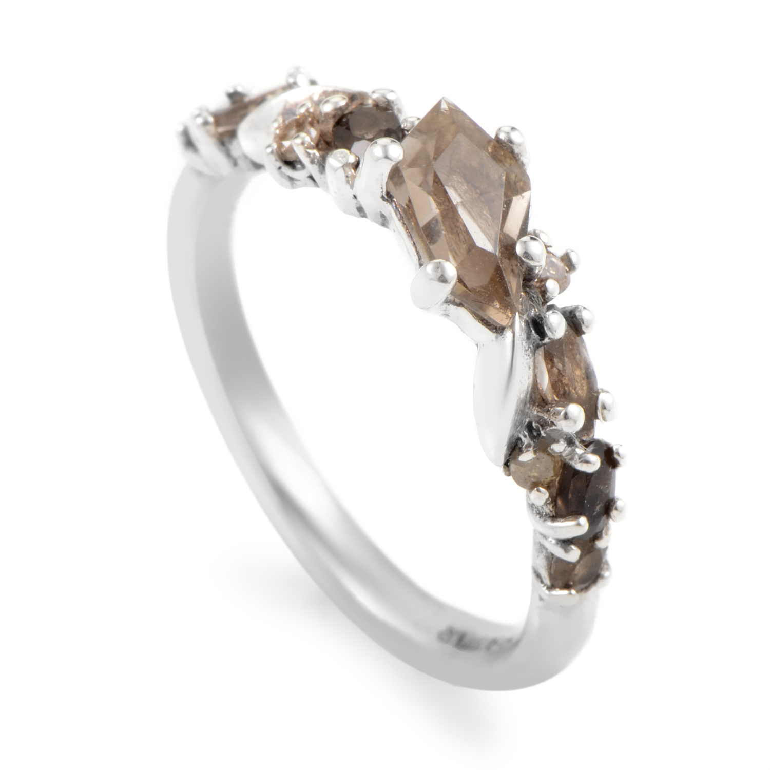 Women's Sterling Silver Brown Diamond & Smoky Quartz Ring