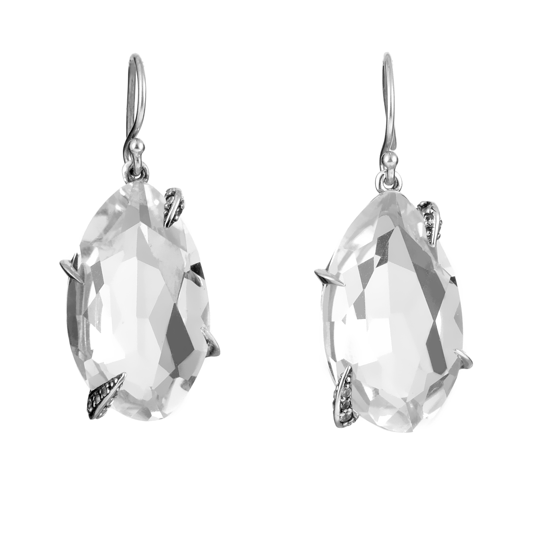 Marquis Sterling Silver Clear Quartz Dangle Earrings FN51E046