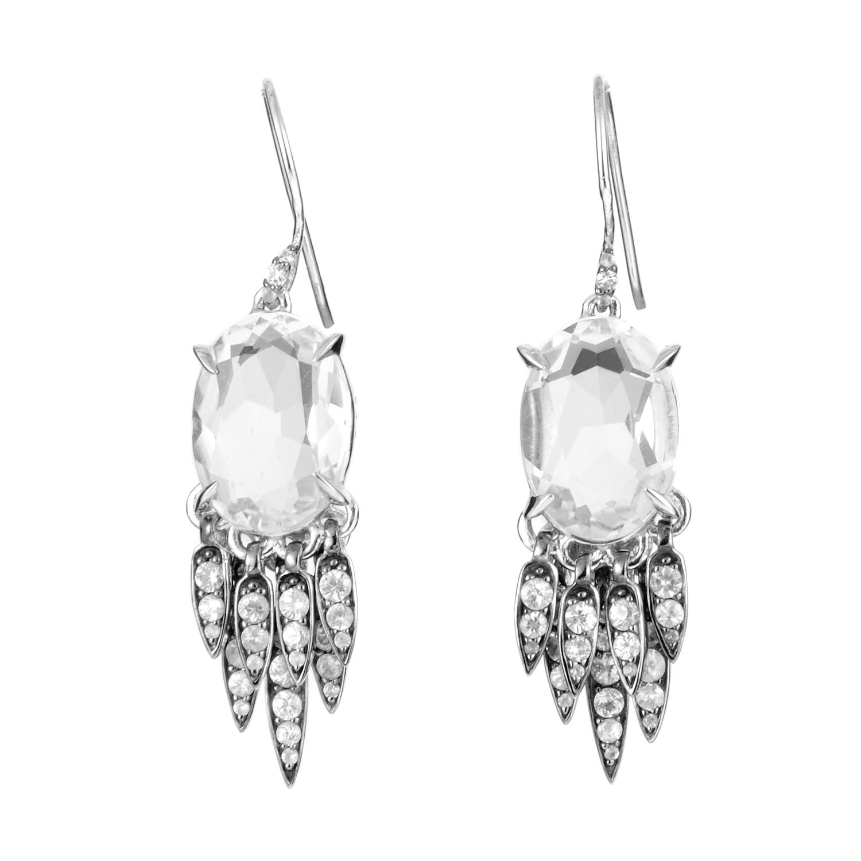 Women's Sterling Silver White Sapphire & Clear Quartz Dangle Earrings