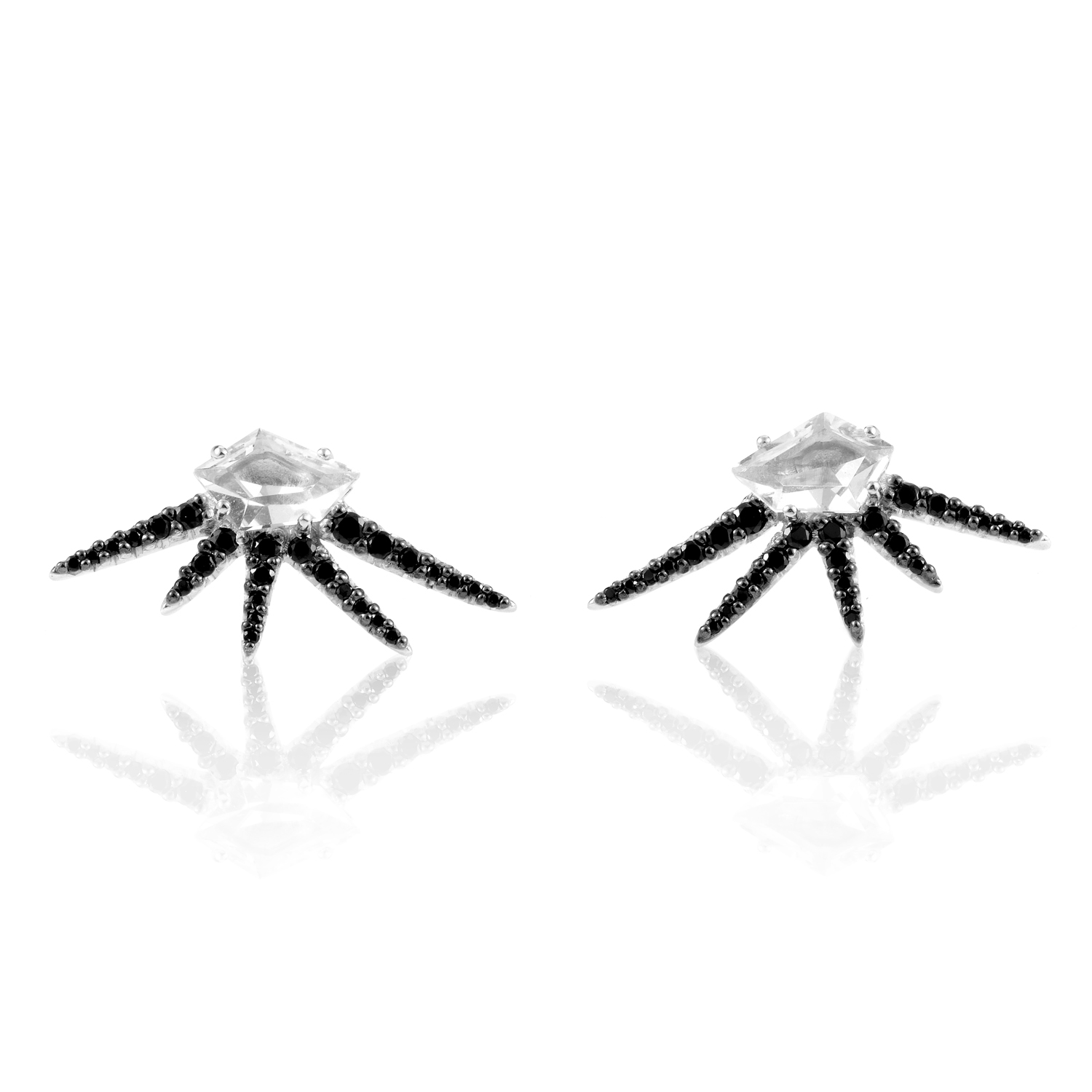 Women's Sterling Silver Black Spinel & Quartz Earrings FX53E002