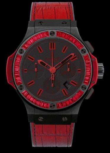All Black Red 44 (Black Ceramic -Baguettes / Black / Black Rubber and Red Gummy Alligator Strap)