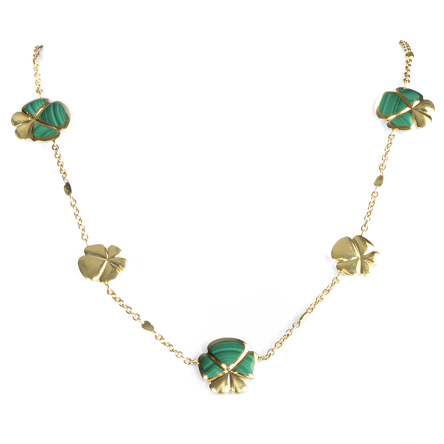Women's 18K Yellow Gold Malachite Flowers Necklace 21972540
