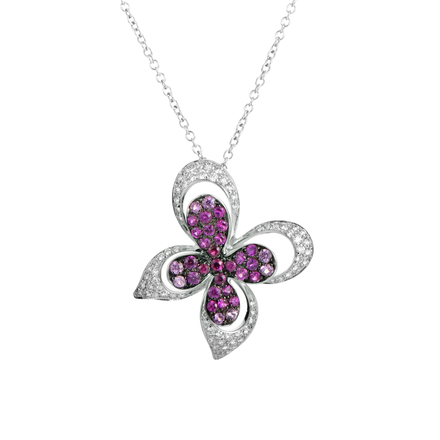18K White Gold Diamond & Pink Sapphire Papillon Pendant Necklace