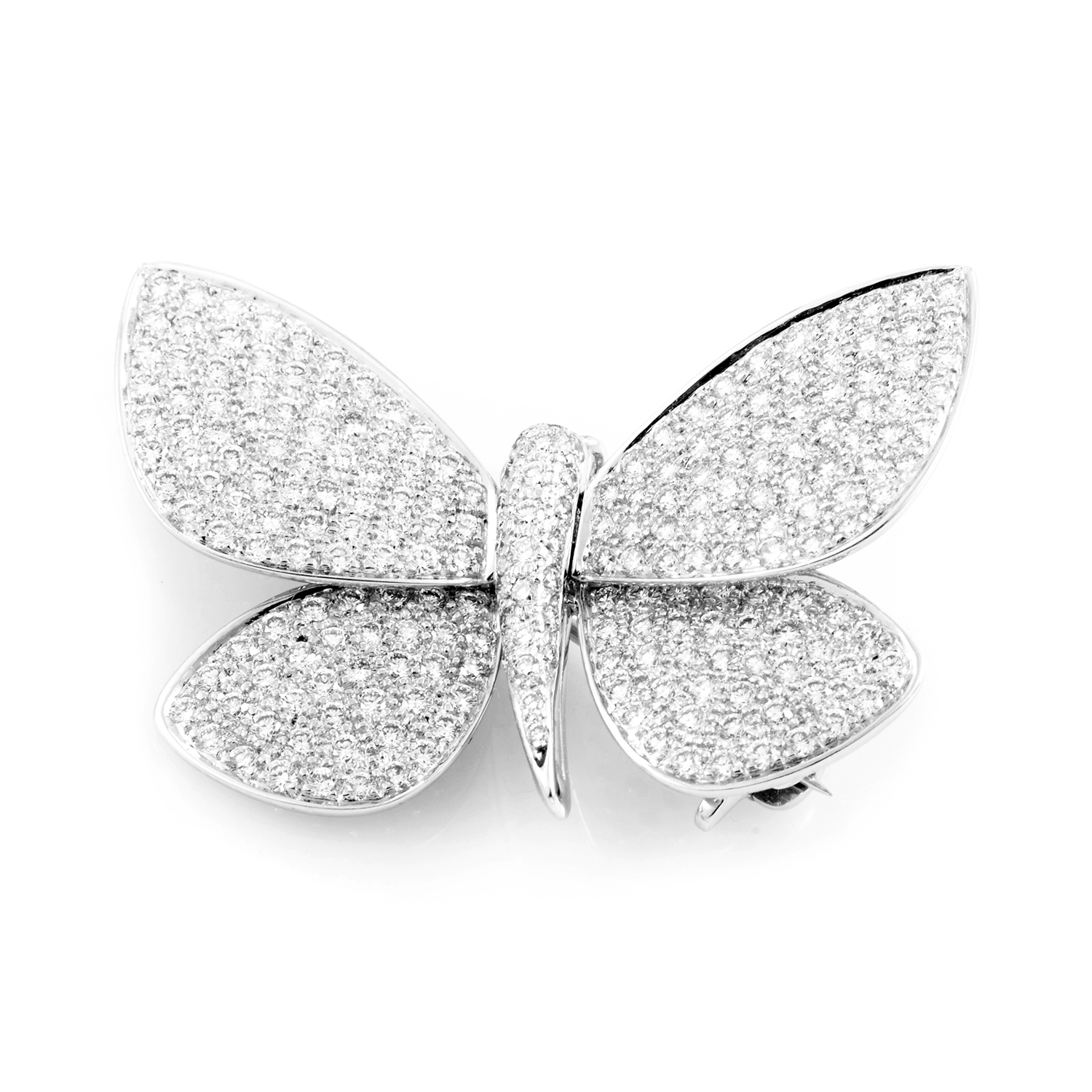 18K White Gold Diamond Open Papillon Pin