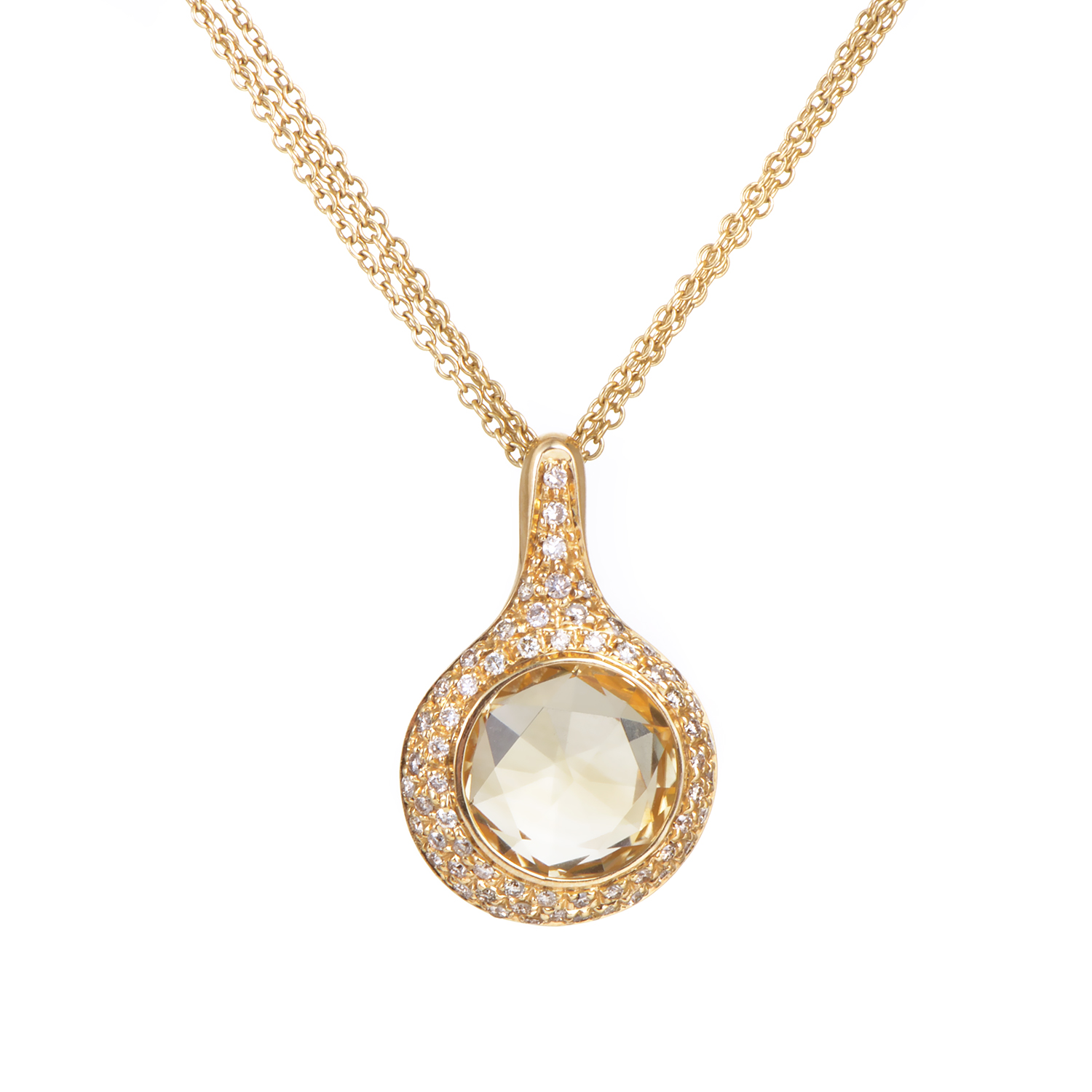 Antonini Women's 18K Yellow Gold Diamond & Citrine Pendant Necklace
