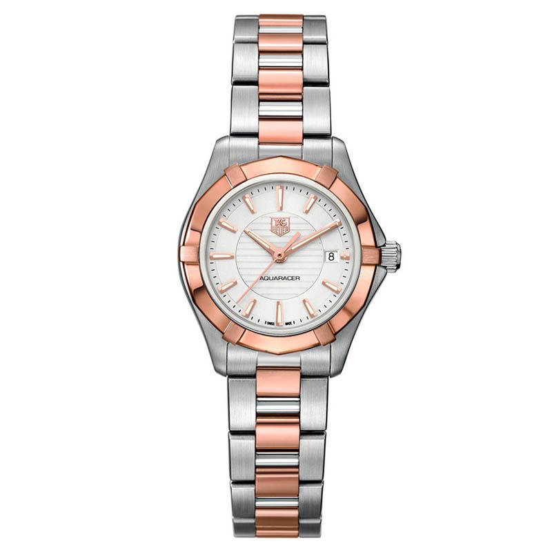 Aquaracer 27 mm Steel & Rose Gold Quartz Watch WAP1450.BD0837
