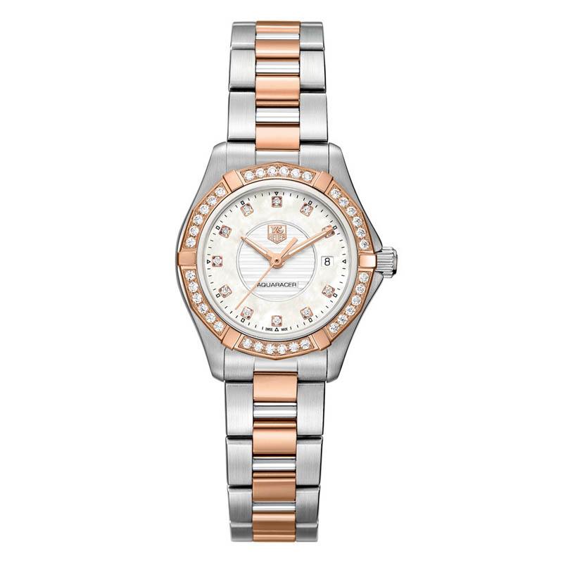 Aquaracer 34 mm Steel & Rose Gold Automatic Watch WAP2351.BD0838