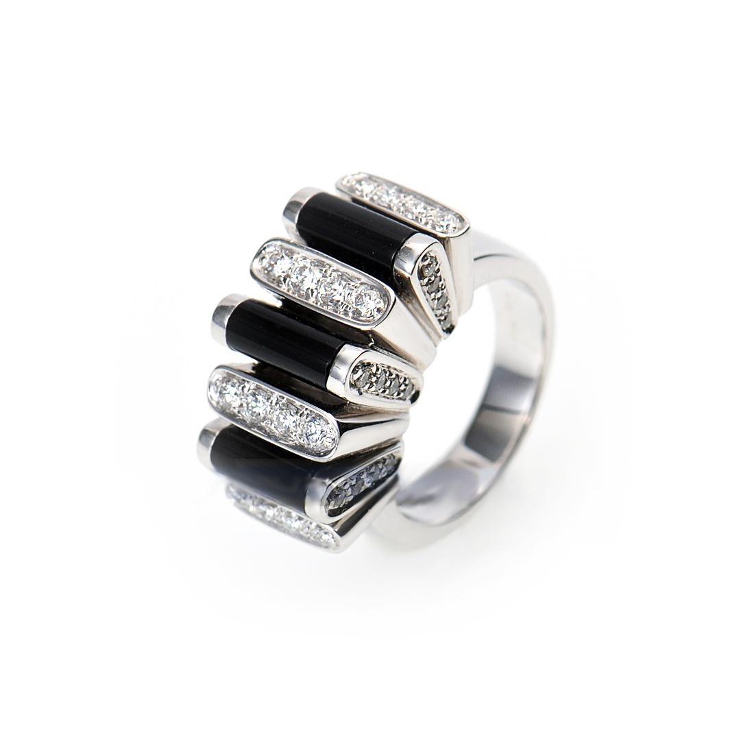 18K White Gold Micro Pave Diamond & Onyx Ring