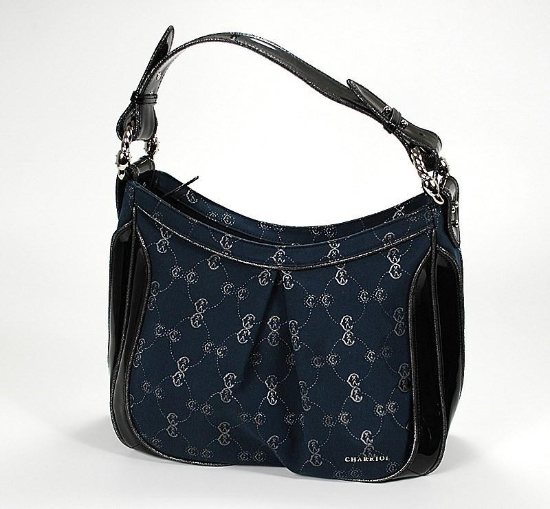 CC Logo Canvas & Black Patent Leather Handbag BAGLECO.04.903L