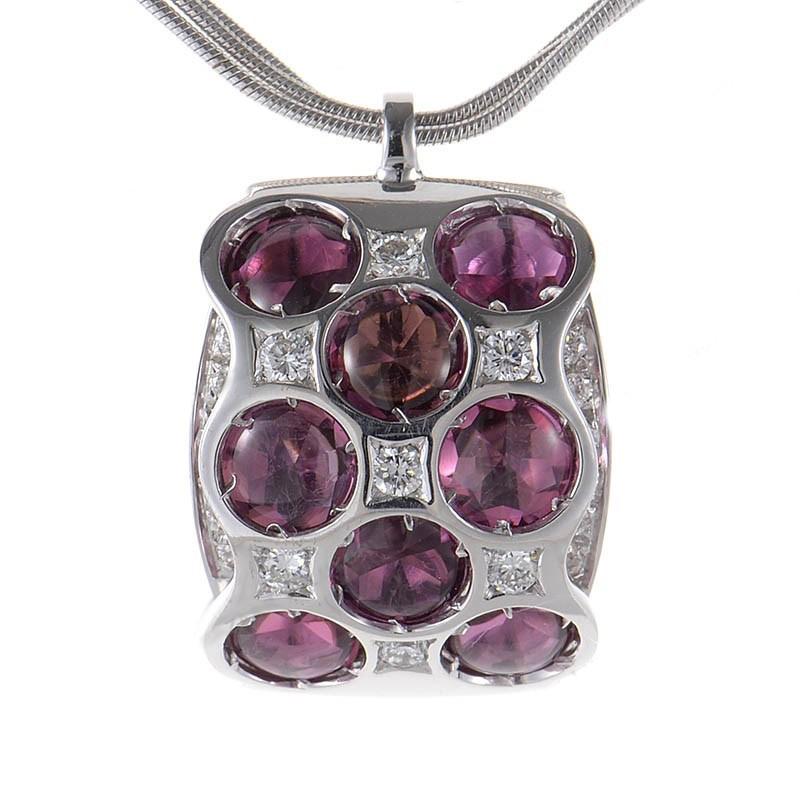 18K White Gold Purple Tourmaline Pendant Necklace