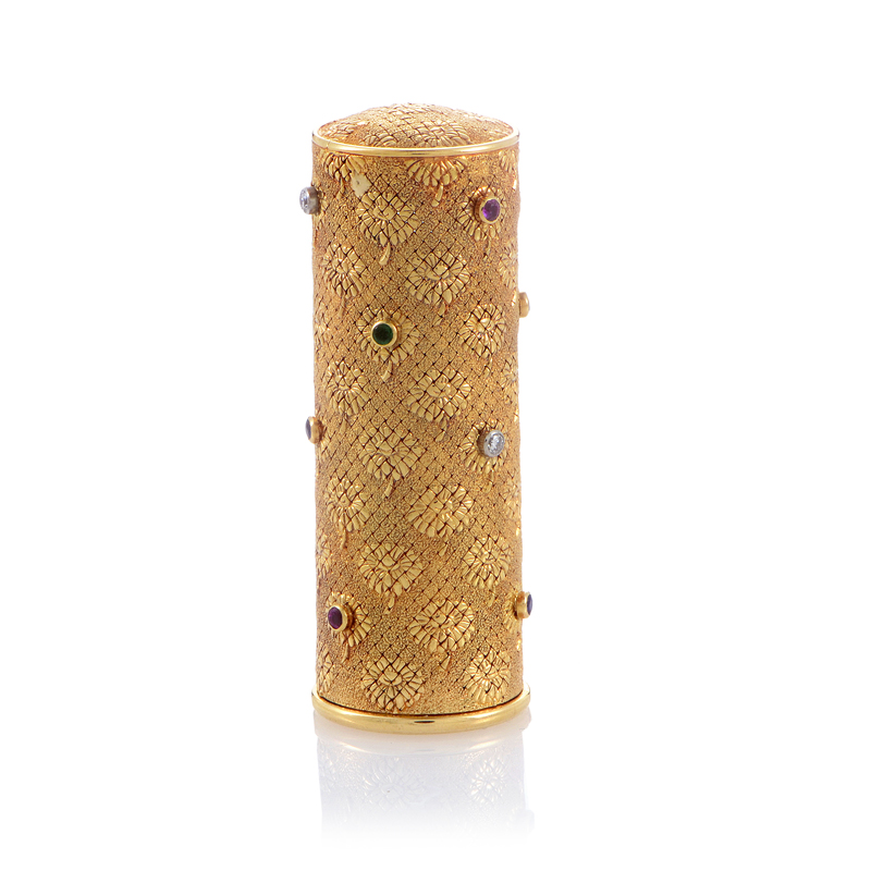 Boucheron Vintage 18K Yellow Gold Precious Gemstone Lipstick Case