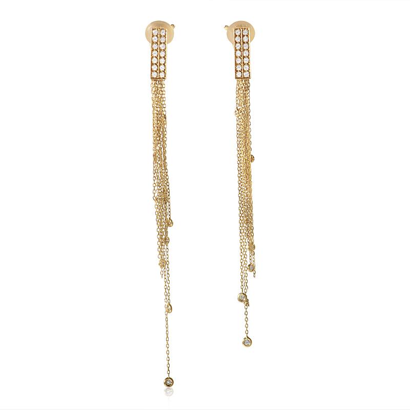 Boucheron Delilah Women's 18K Yellow Gold Diamond Dangle Clip-on Earrings
