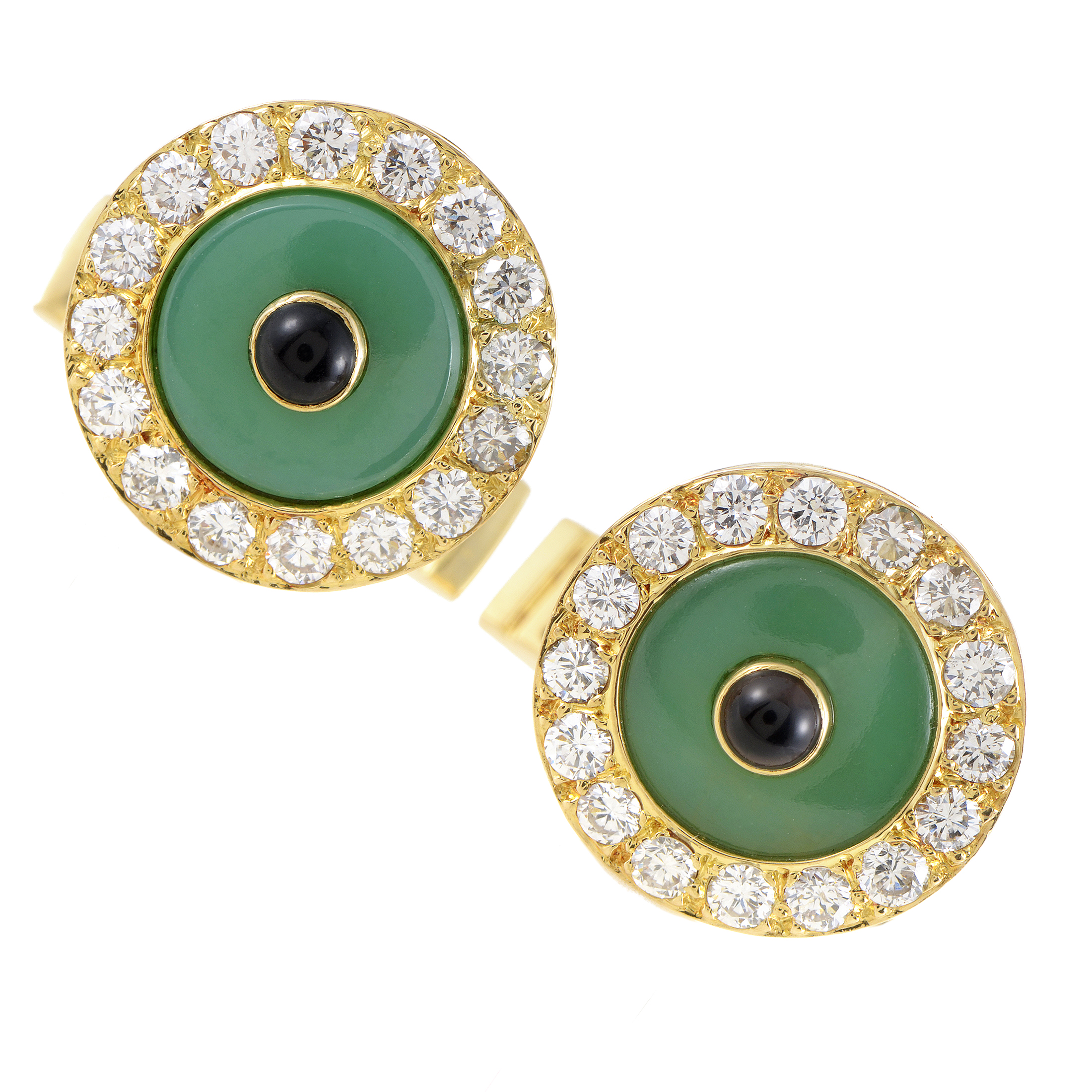 Boucheron Men's Enameled 18K Yellow Diamond & Onyx Cufflinks
