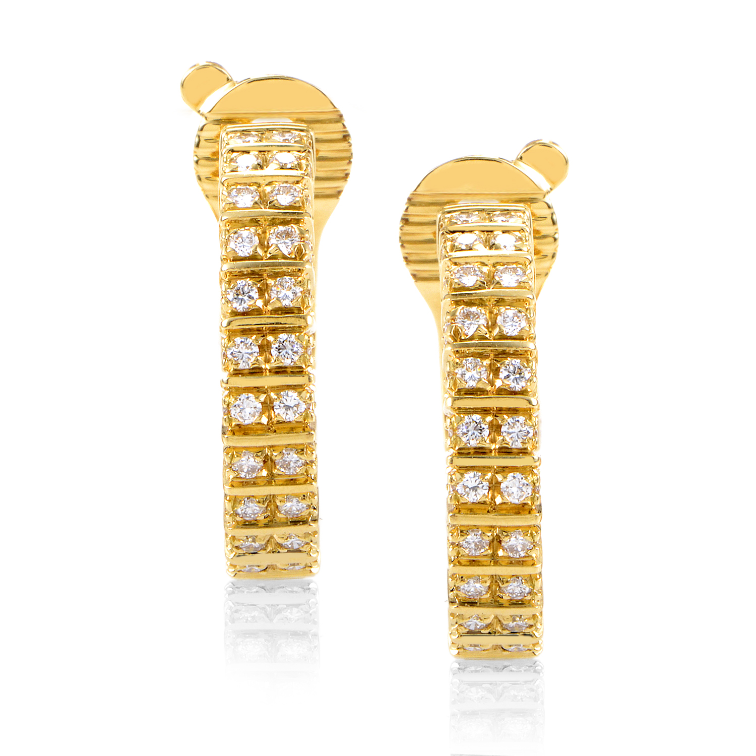 Boucheron Women's 18K Yellow Gold Diamond Hoop Earrings