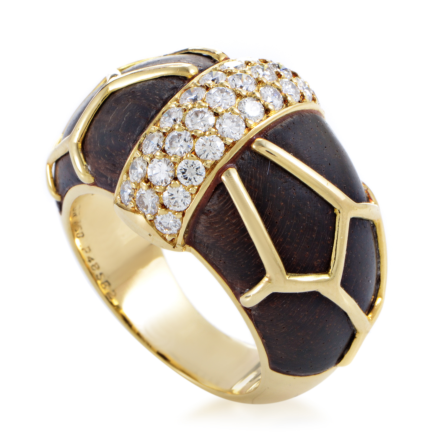 Boucheron Women's 18K Yellow Gold Diamond & Wood Band Ring