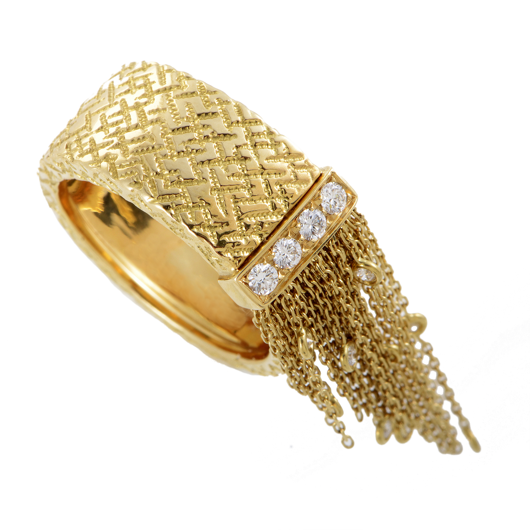 Boucheron Delilah Women's 18K Yellow Gold Diamond Fringe Band Ring