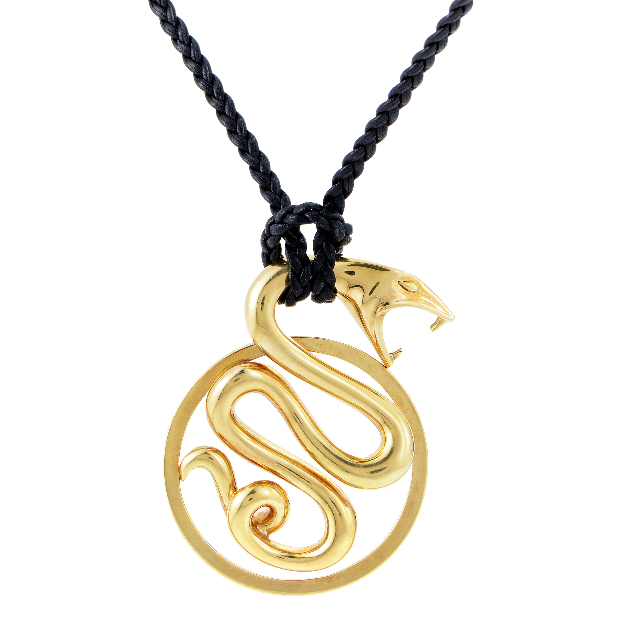 Boucheron 18K Yellow Gold Snake Pendant & Long Braided Cord Necklace