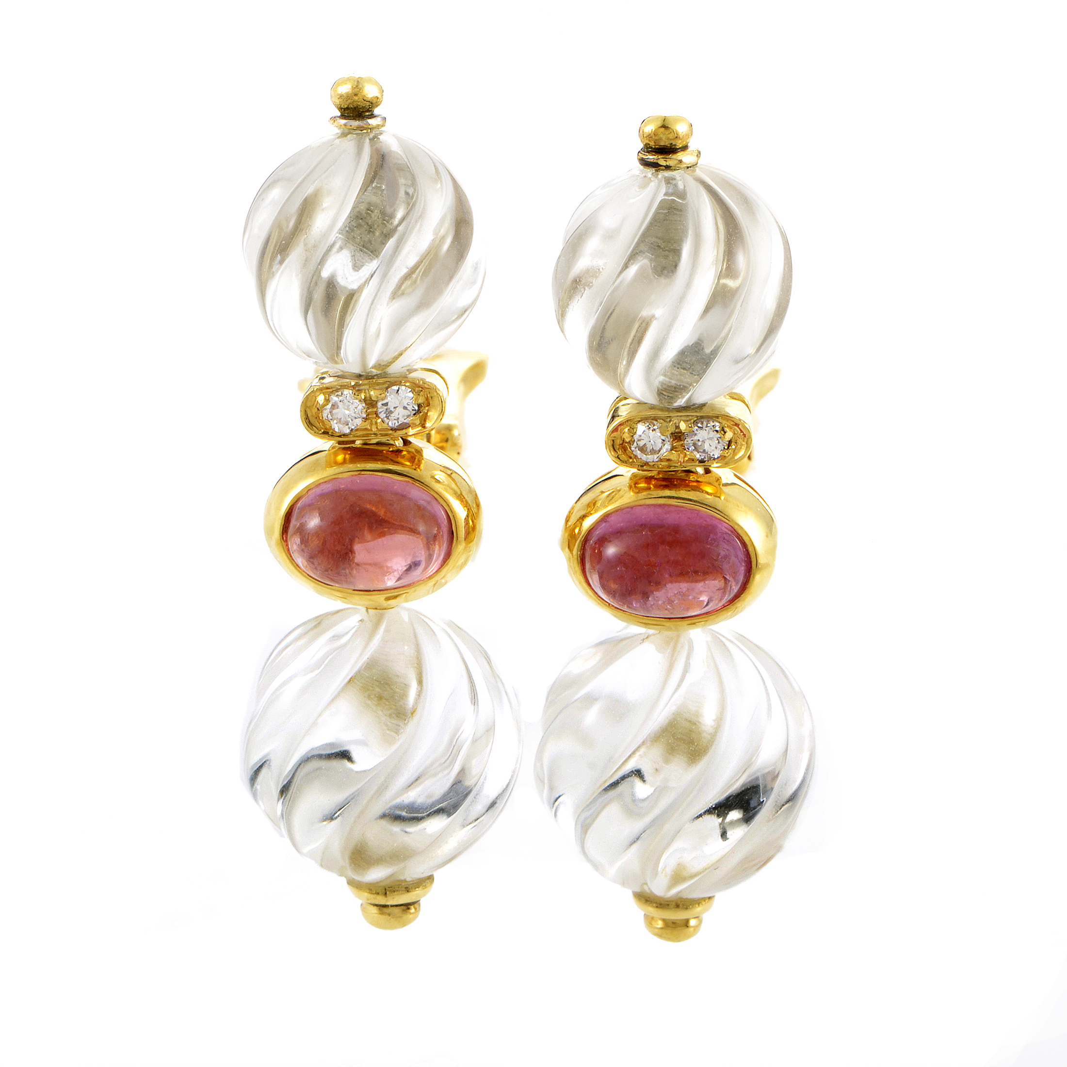 Boucheron Women's 18K Yellow Gold Gemstone & Crystal Earrings