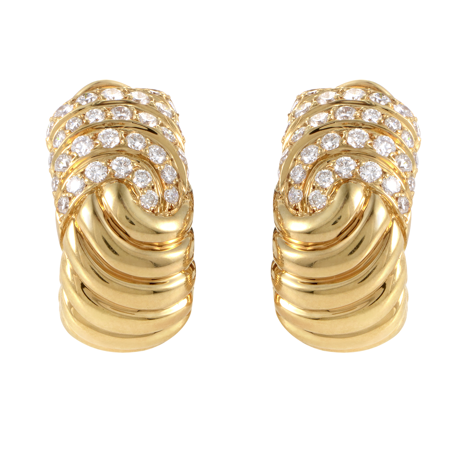 Boucheron 18K Yellow Gold Diamond Huggie Earrings